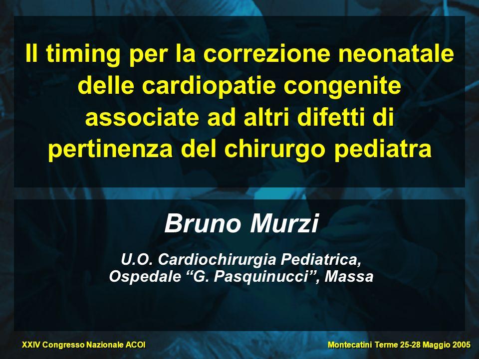Montecatini Terme 25-28 Maggio 2005 XXIV Congresso Nazionale ACOI Il timing per la correzione neonatale delle cardiopatie congenite associate ad altri