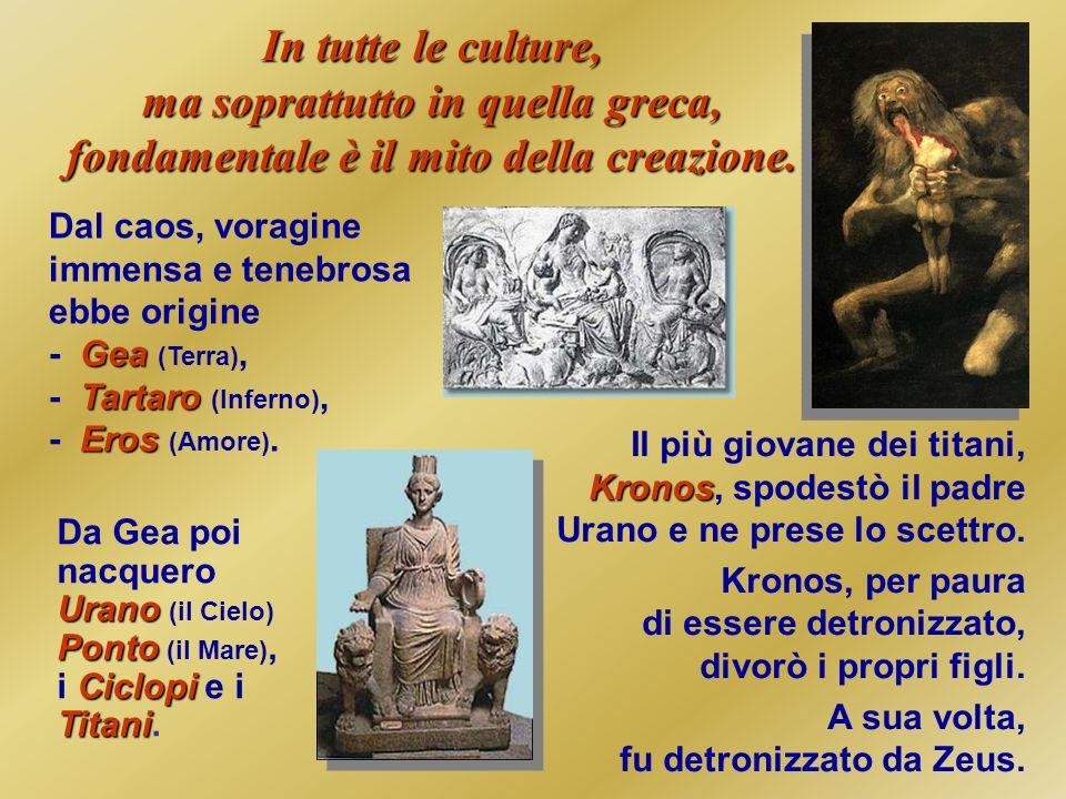 In tutte le culture, ma soprattutto in quella greca, fondamentale è il mito della creazione. Gea Tartaro Eros Dal caos, voragine immensa e tenebrosa e