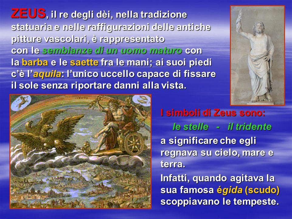 ZEUS, il re degli dèi, nella tradizione statuaria e nelle raffigurazioni delle antiche pitture vascolari, è rappresentato con le sembianze di un uomo