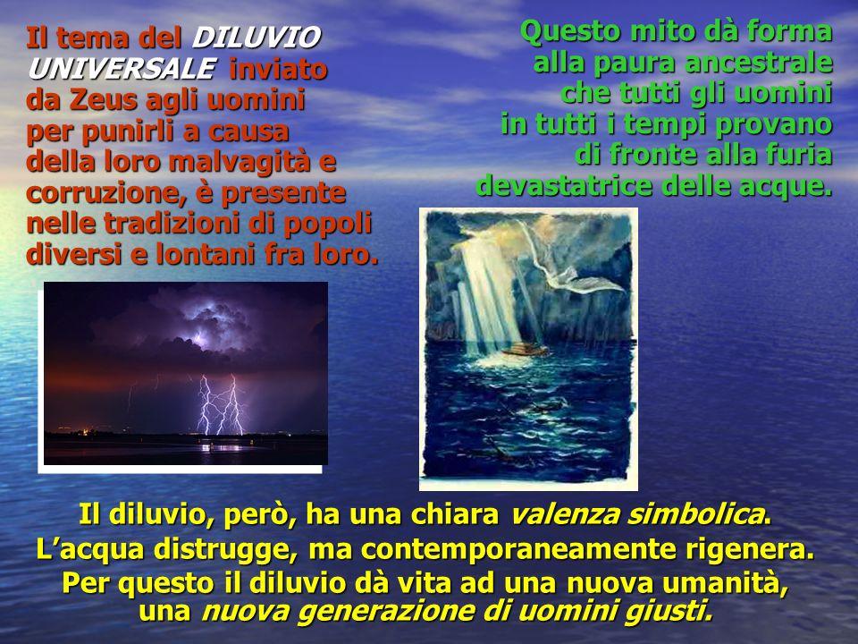 Il tema del DILUVIO UNIVERSALE inviato da Zeus agli uomini per punirli a causa della loro malvagità e corruzione, è presente nelle tradizioni di popol