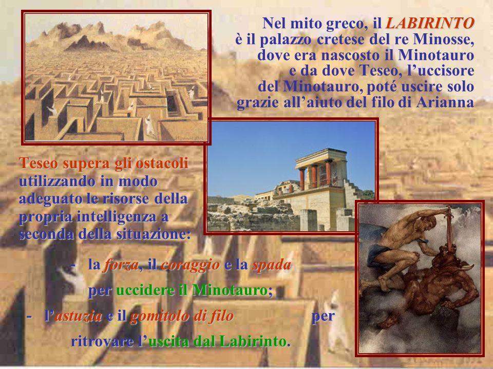 Nel mito greco, il L LL LABIRINTO è il palazzo cretese del re Minosse, dove era nascosto il Minotauro e da dove Teseo, luccisore del Minotauro, poté u