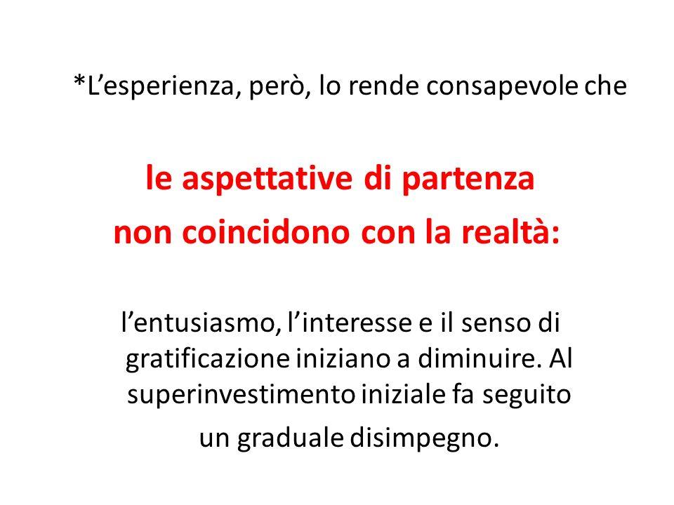 *Lesperienza, però, lo rende consapevole che le aspettative di partenza non coincidono con la realtà: lentusiasmo, linteresse e il senso di gratificaz