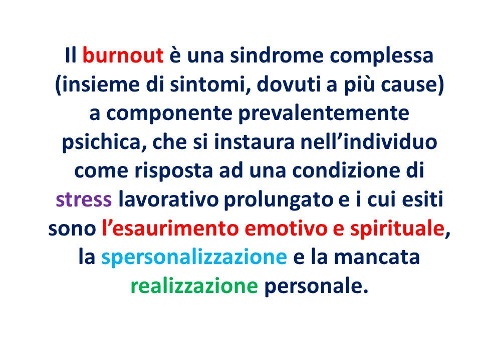 Il burnout è una sindrome complessa (insieme di sintomi, dovuti a più cause) a componente prevalentemente psichica, che si instaura nellindividuo come