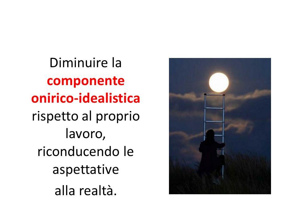 Diminuire la componente onirico-idealistica rispetto al proprio lavoro, riconducendo le aspettative alla realtà.
