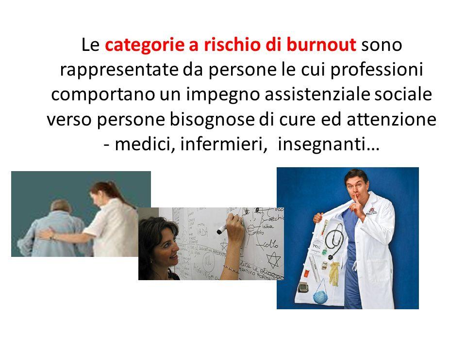 Le categorie a rischio di burnout sono rappresentate da persone le cui professioni comportano un impegno assistenziale sociale verso persone bisognose