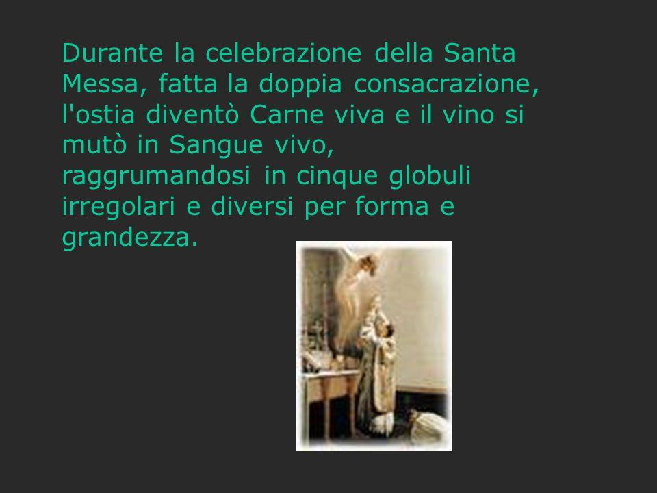 Durante la celebrazione della Santa Messa, fatta la doppia consacrazione, l'ostia diventò Carne viva e il vino si mutò in Sangue vivo, raggrumandosi i