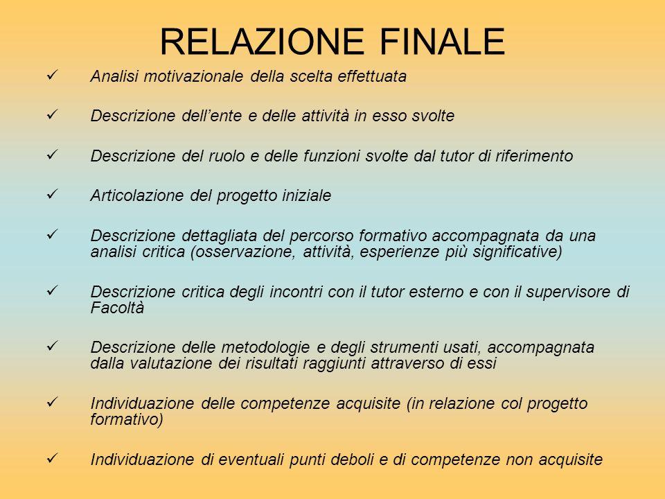RELAZIONE FINALE Analisi motivazionale della scelta effettuata Descrizione dellente e delle attività in esso svolte Descrizione del ruolo e delle funz