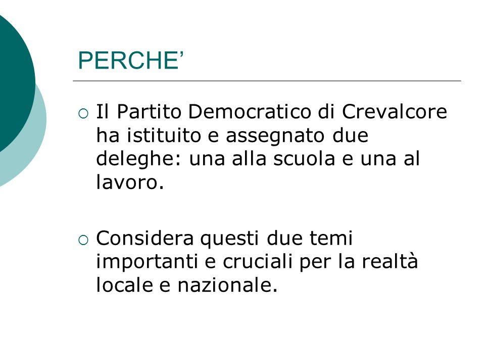 PERCHE Il Partito Democratico di Crevalcore ha istituito e assegnato due deleghe: una alla scuola e una al lavoro.