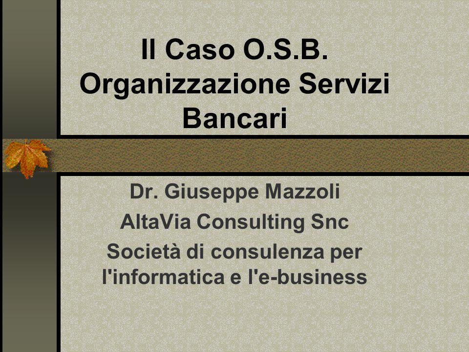 Il Caso O.S.B. Organizzazione Servizi Bancari Dr.
