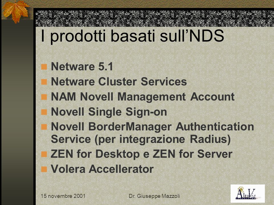 15 novembre 2001Dr. Giuseppe Mazzoli I prodotti basati sullNDS Netware 5.1 Netware Cluster Services NAM Novell Management Account Novell Single Sign-o