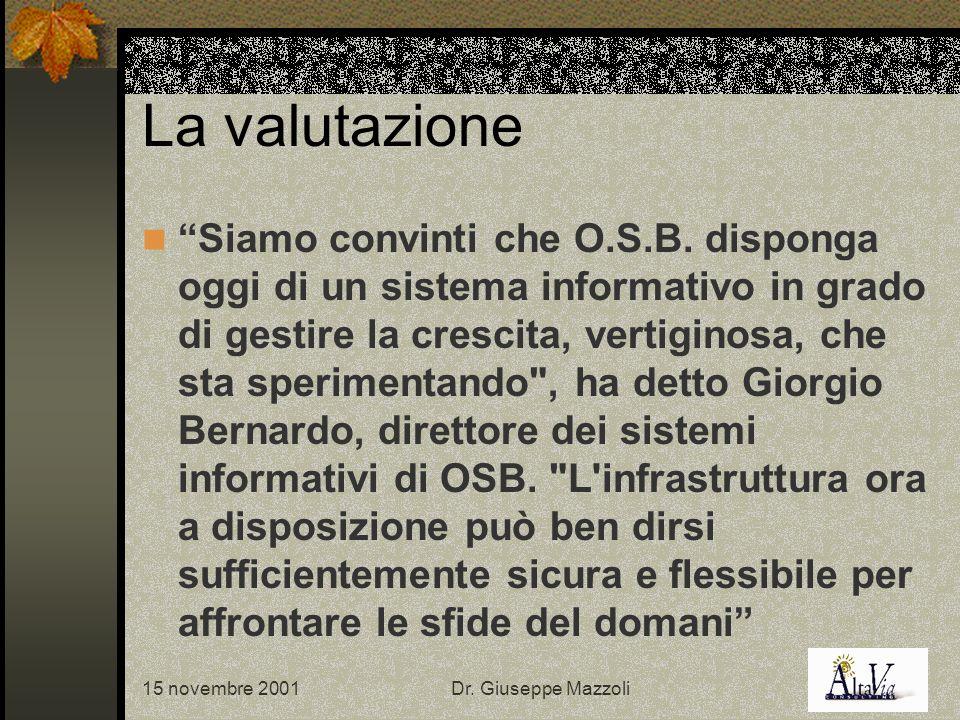 15 novembre 2001Dr. Giuseppe Mazzoli La valutazione Siamo convinti che O.S.B.