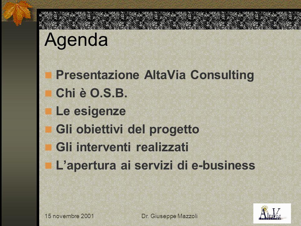 15 novembre 2001Dr. Giuseppe Mazzoli Agenda Presentazione AltaVia Consulting Chi è O.S.B.