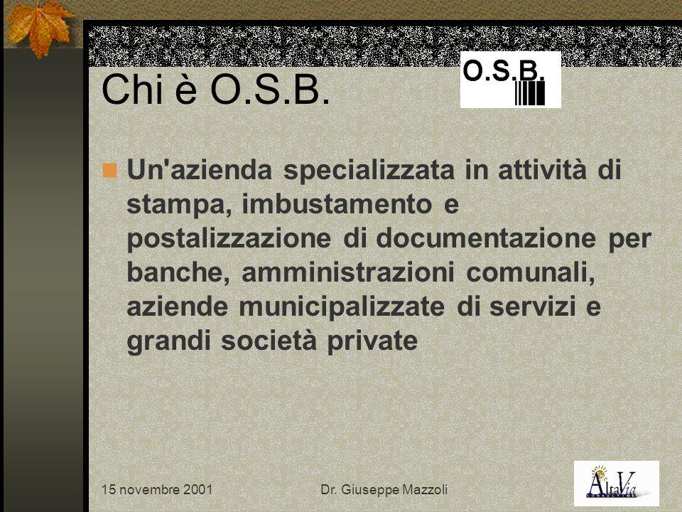15 novembre 2001Dr. Giuseppe Mazzoli Chi è O.S.B.