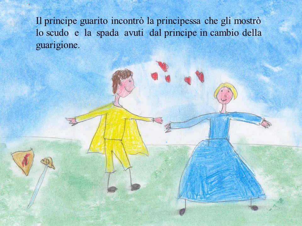 Il principe guarito incontrò la principessa che gli mostrò lo scudo e la spada avuti dal principe in cambio della guarigione.