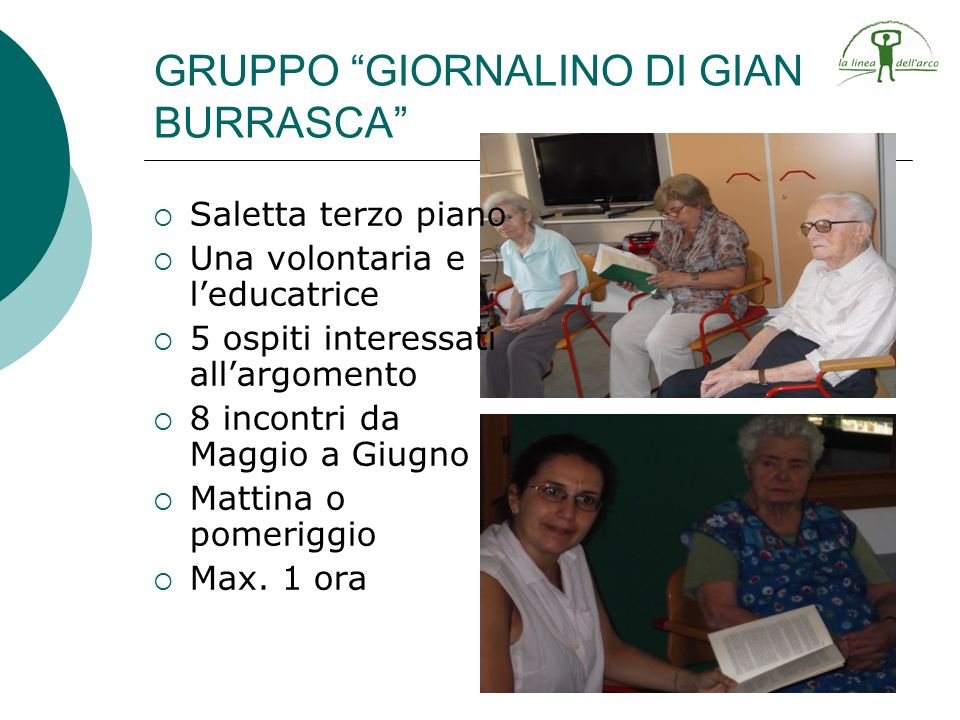 Saletta terzo piano Una volontaria e leducatrice 5 ospiti interessati allargomento 8 incontri da Maggio a Giugno Mattina o pomeriggio Max. 1 ora GRUPP