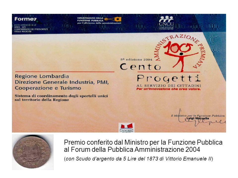 Premio conferito dal Ministro per la Funzione Pubblica al Forum della Pubblica Amministrazione 2004 (con Scudo dargento da 5 Lire del 1873 di Vittorio Emanuele II)