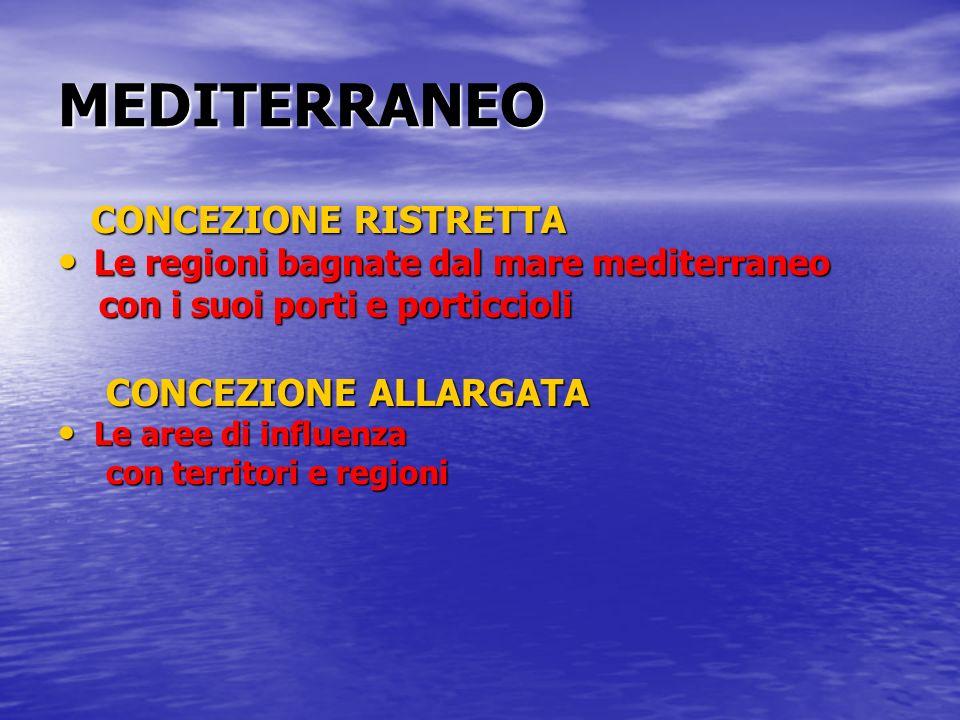 MEDITERRANEO CONCEZIONE RISTRETTA CONCEZIONE RISTRETTA Le regioni bagnate dal mare mediterraneo Le regioni bagnate dal mare mediterraneo con i suoi po