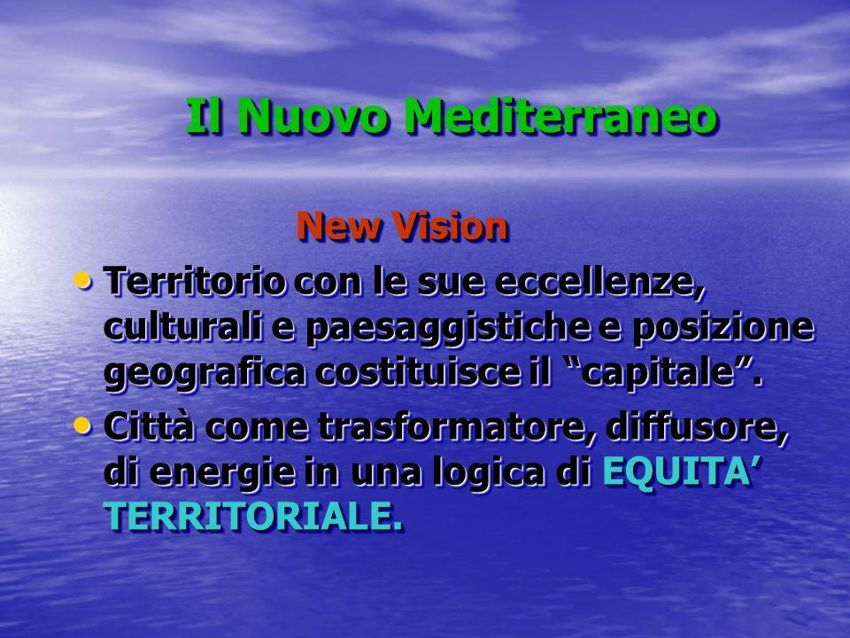 Il Nuovo Mediterraneo Il Nuovo Mediterraneo New Vision New Vision Territorio con le sue eccellenze, culturali e paesaggistiche e posizione geografica