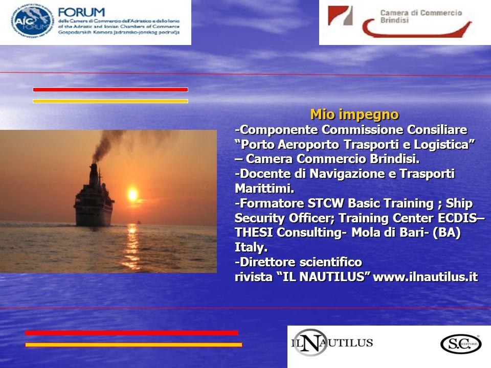 Mio impegno Mio impegno -Componente Commissione Consiliare Porto Aeroporto Trasporti e Logistica – Camera Commercio Brindisi. -Docente di Navigazione