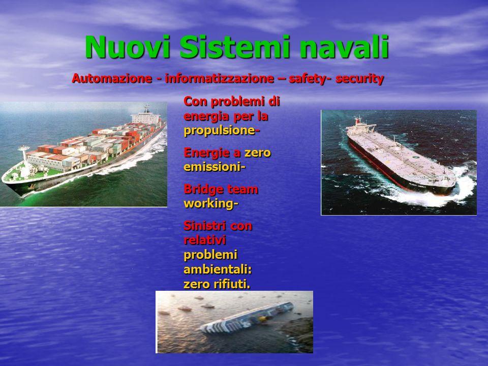 Nuovi Sistemi navali Con problemi di energia per la propulsione- Energie a zero emissioni- Bridge team working- Sinistri con relativi problemi ambient
