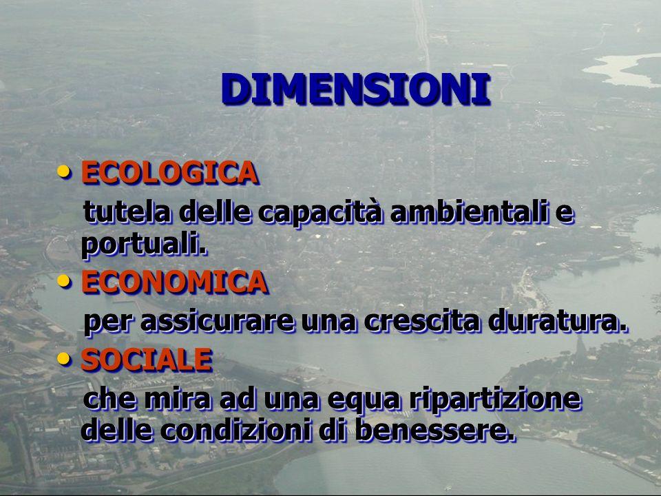 ECOLOGICA ECOLOGICA tutela delle capacità ambientali e portuali. tutela delle capacità ambientali e portuali. ECONOMICA ECONOMICA per assicurare una c