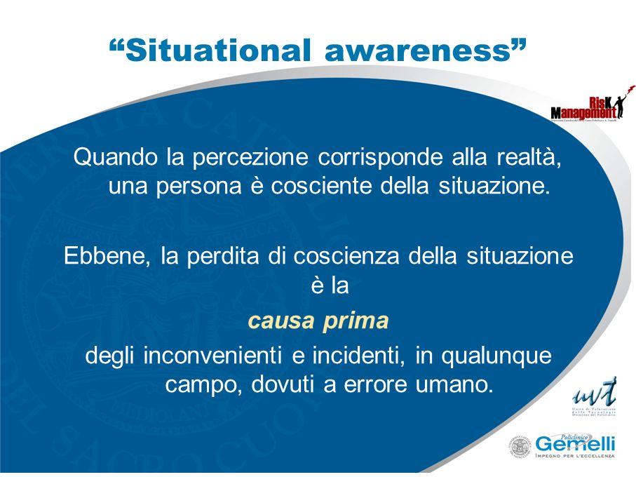 Situational awareness Quando la percezione corrisponde alla realtà, una persona è cosciente della situazione. Ebbene, la perdita di coscienza della si
