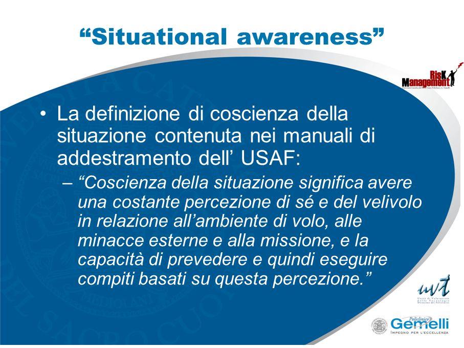 Situational awareness La definizione di coscienza della situazione contenuta nei manuali di addestramento dell USAF: –Coscienza della situazione signi
