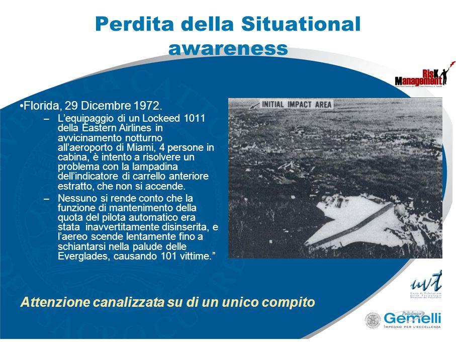 Perdita della Situational awareness Florida, 29 Dicembre 1972. –Lequipaggio di un Lockeed 1011 della Eastern Airlines in avvicinamento notturno allaer