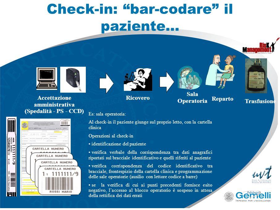 Check-in: bar-codare il paziente… Accettazione amministrativa (Spedalità - PS - CCD) Ricovero Sala Operatoria Es: sala operatoria: Al check-in il pazi
