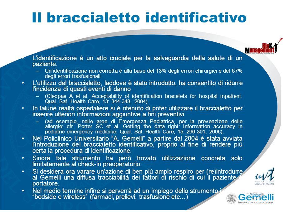 Il braccialetto identificativo Lidentificazione è un atto cruciale per la salvaguardia della salute di un paziente. –Unidentificazione non corretta è