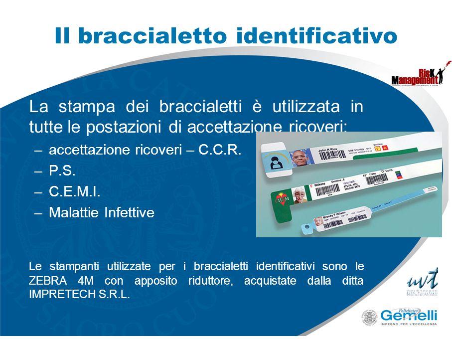 La stampa dei braccialetti è utilizzata in tutte le postazioni di accettazione ricoveri: –accettazione ricoveri – C.C.R. –P.S. –C.E.M.I. –Malattie Inf
