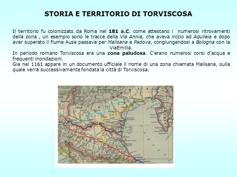STORIA E TERRITORIO DI TORVISCOSA Il territorio fu colonizzato da Roma nel 181 a.C. come attestano i numerosi ritrovamenti della zona, un esempio sono