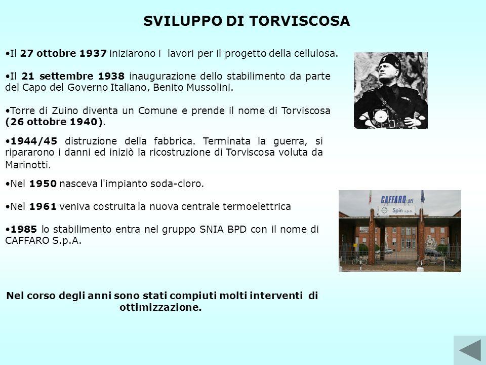 SVILUPPO DI TORVISCOSA 1944/45 distruzione della fabbrica. Terminata la guerra, si ripararono i danni ed iniziò la ricostruzione di Torviscosa voluta
