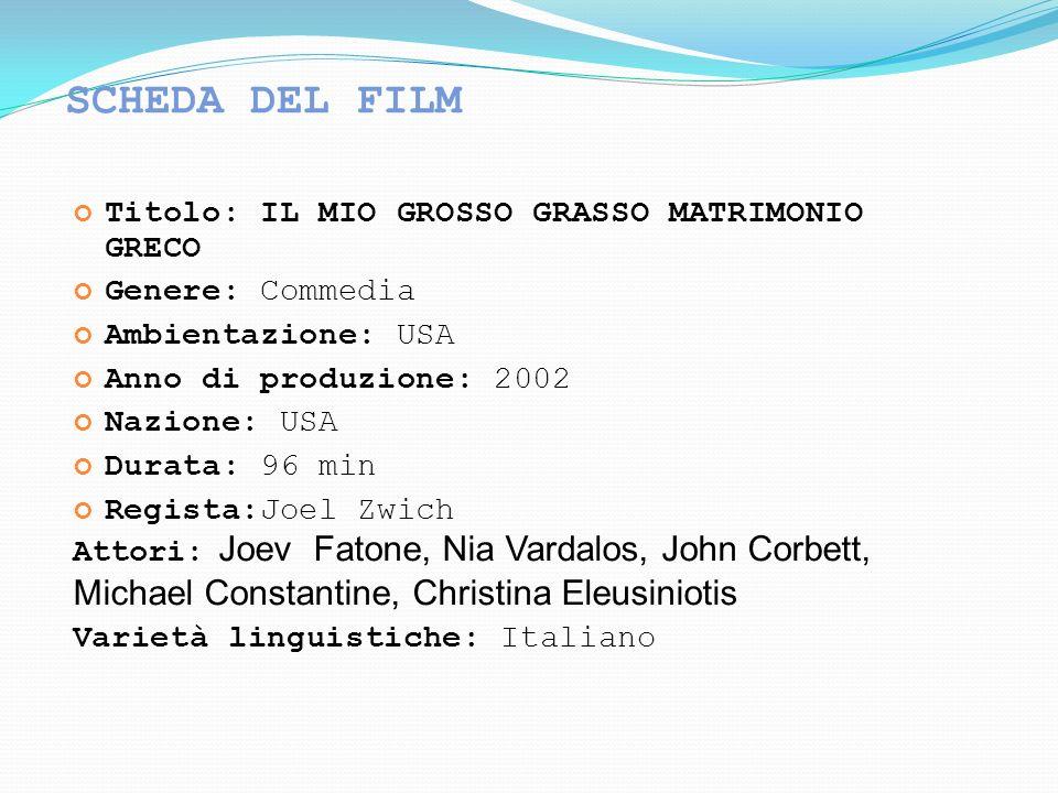 SCHEDA DEL FILM Titolo: IL MIO GROSSO GRASSO MATRIMONIO GRECO Genere: Commedia Ambientazione: USA Anno di produzione: 2002 Nazione: USA Durata: 96 min