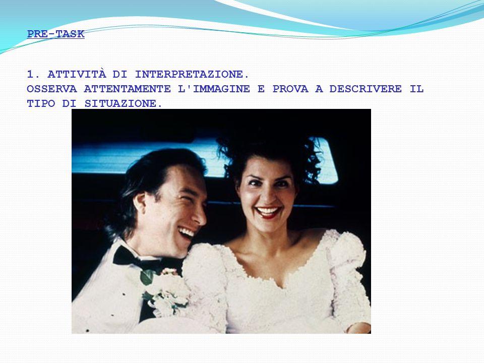 PRE-TASK 1. ATTIVITÀ DI INTERPRETAZIONE. OSSERVA ATTENTAMENTE L'IMMAGINE E PROVA A DESCRIVERE IL TIPO DI SITUAZIONE.