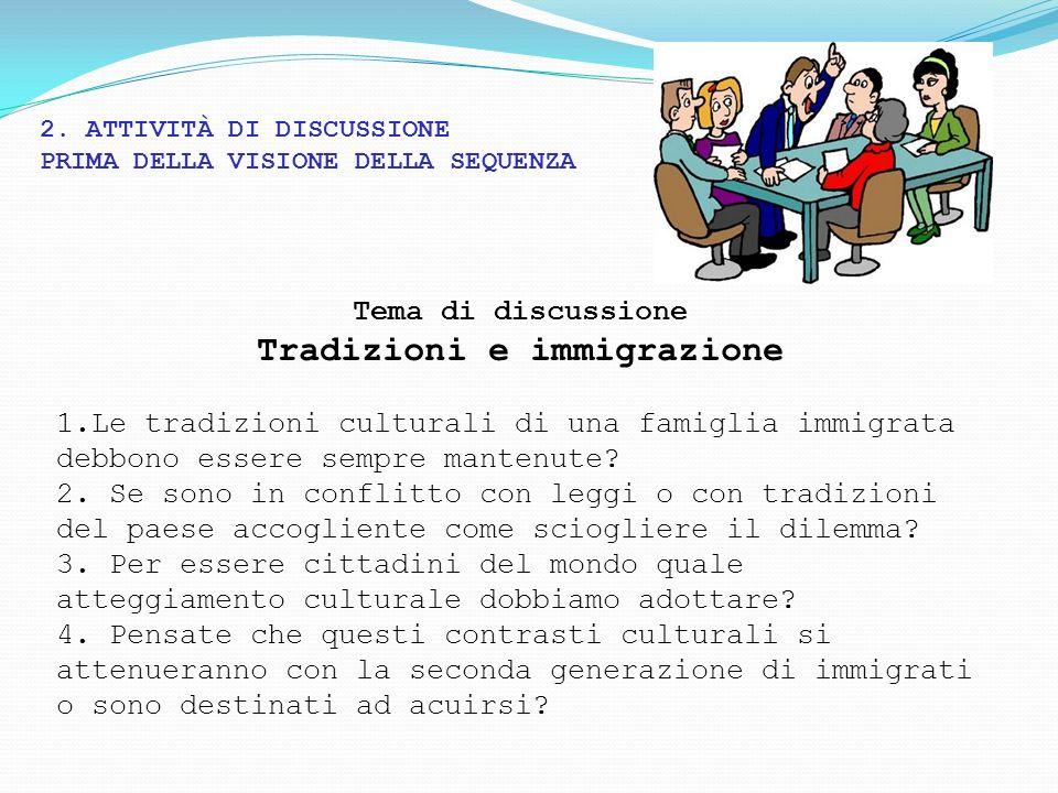 2. ATTIVITÀ DI DISCUSSIONE PRIMA DELLA VISIONE DELLA SEQUENZA Tema di discussione Tradizioni e immigrazione 1.Le tradizioni culturali di una famiglia