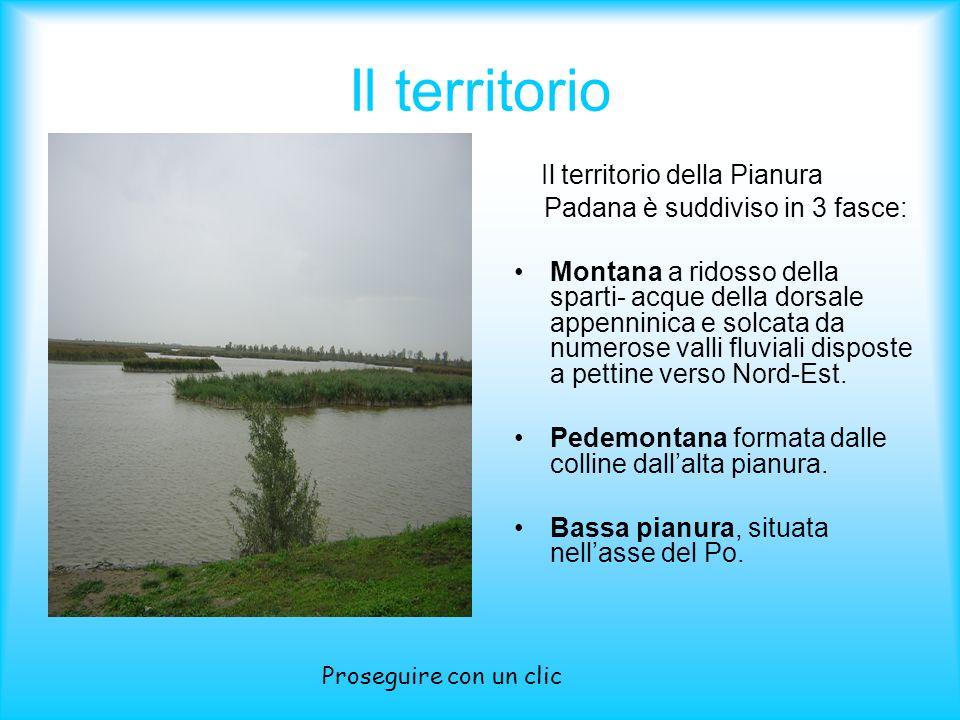 Il territorio Il territorio della Pianura Padana è suddiviso in 3 fasce: Montana a ridosso della sparti- acque della dorsale appenninica e solcata da