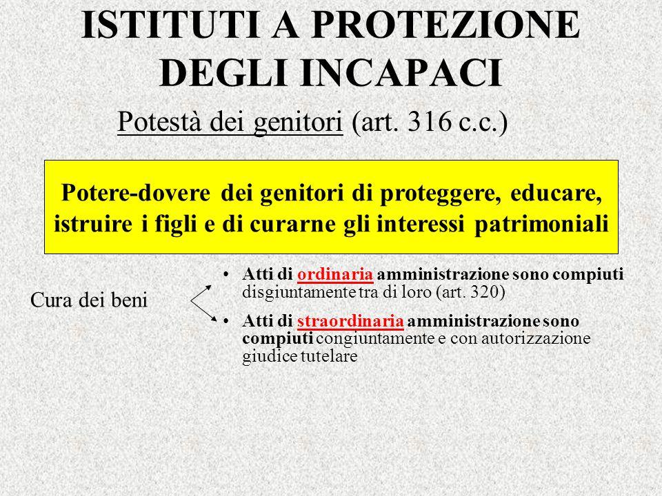 ISTITUTI A PROTEZIONE DEGLI INCAPACI Potestà dei genitori (art. 316 c.c.) Potere-dovere dei genitori di proteggere, educare, istruire i figli e di cur