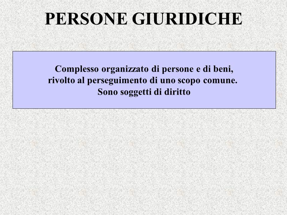 PERSONE GIURIDICHE Complesso organizzato di persone e di beni, rivolto al perseguimento di uno scopo comune. Sono soggetti di diritto