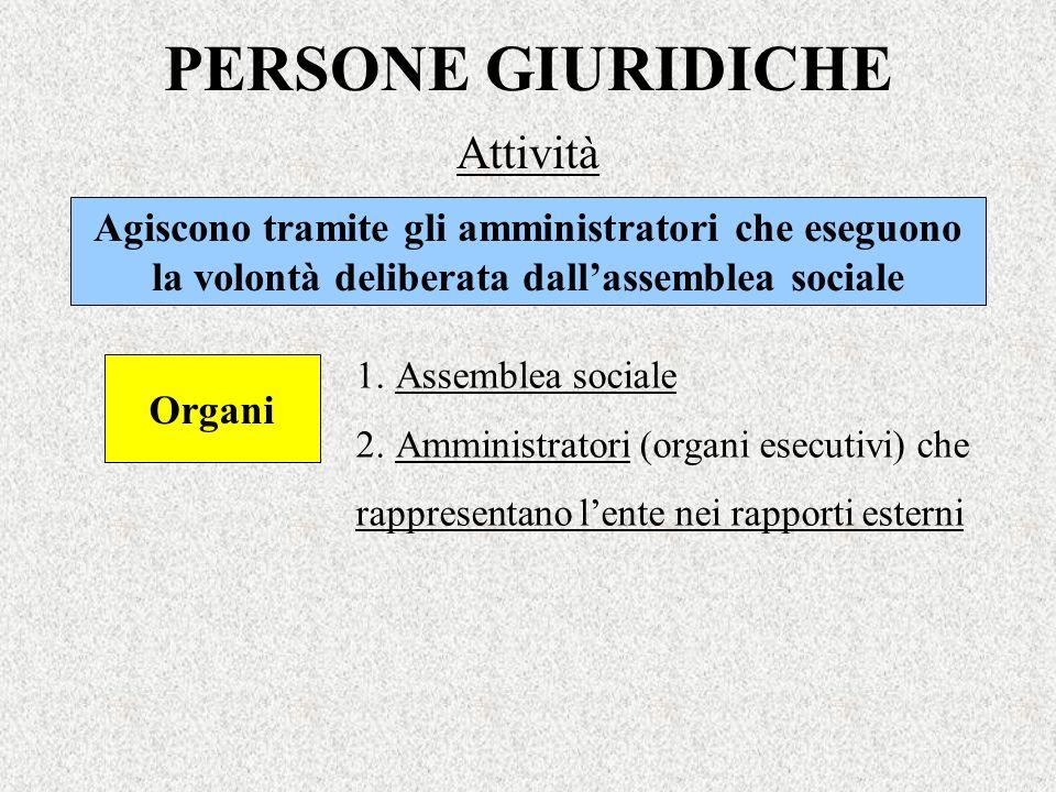 PERSONE GIURIDICHE Attività Organi 1.Assemblea sociale 2.Amministratori (organi esecutivi) che rappresentano lente nei rapporti esterni Agiscono trami