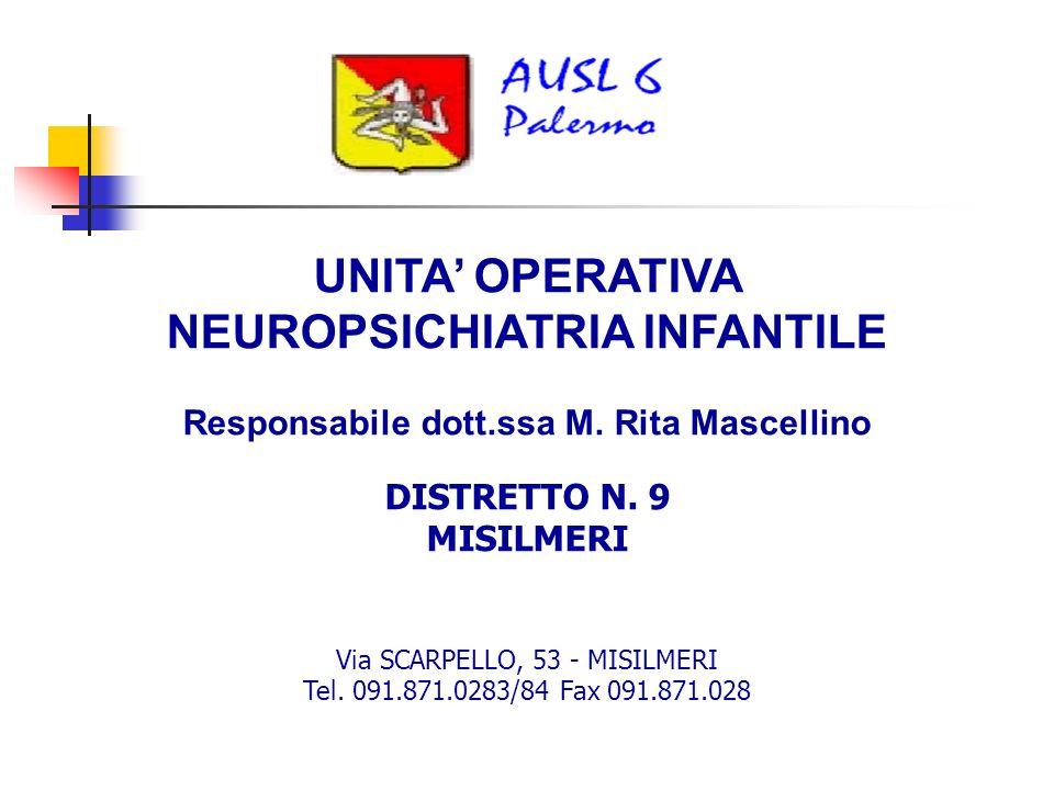 UNITA OPERATIVA NEUROPSICHIATRIA INFANTILE Responsabile dott.ssa M.