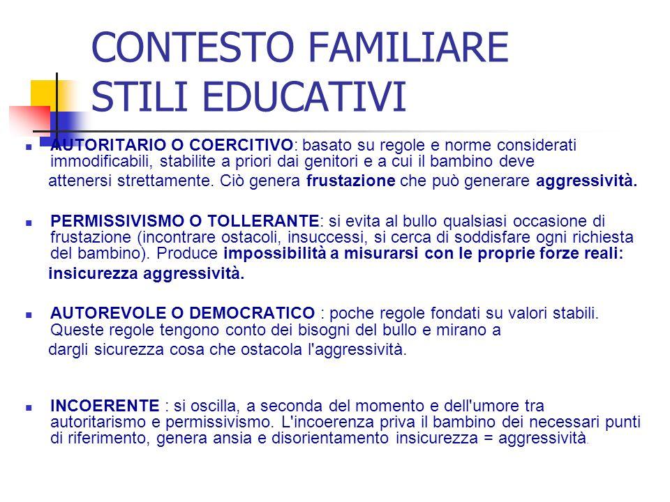 CONTESTO FAMILIARE STILI EDUCATIVI AUTORITARIO O COERCITIVO: basato su regole e norme considerati immodificabili, stabilite a priori dai genitori e a cui il bambino deve attenersi strettamente.