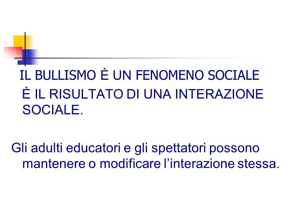 IL BULLISMO È UN FENOMENO SOCIALE È IL RISULTATO DI UNA INTERAZIONE SOCIALE.