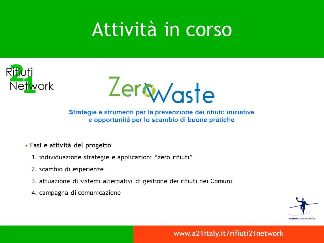 Attività in corso www.a21italy.it/rifiuti21network Strategie e strumenti per la prevenzione dei rifiuti: iniziative e opportunità per lo scambio di buone pratiche Fasi e attività del progetto 1.