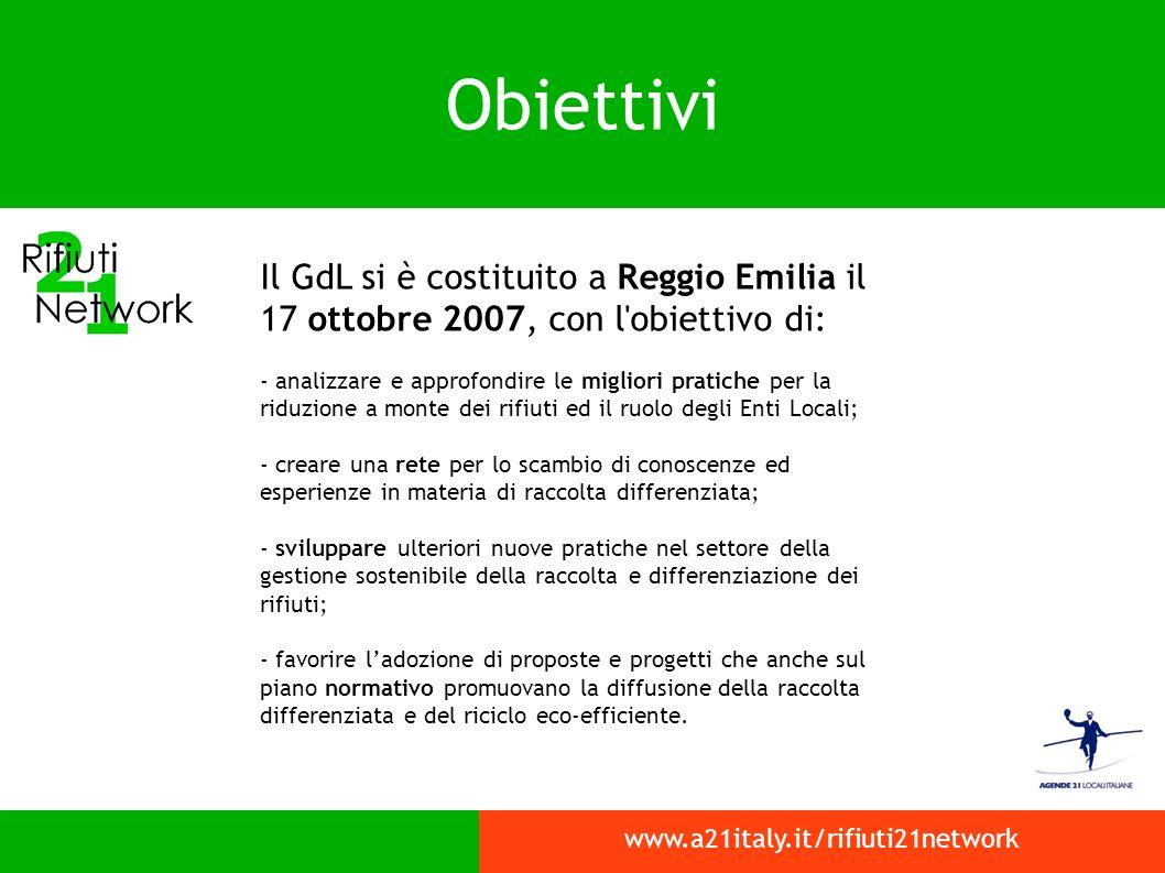 Obiettivi Il GdL si è costituito a Reggio Emilia il 17 ottobre 2007, con l obiettivo di: - analizzare e approfondire le migliori pratiche per la riduzione a monte dei rifiuti ed il ruolo degli Enti Locali; - creare una rete per lo scambio di conoscenze ed esperienze in materia di raccolta differenziata; - sviluppare ulteriori nuove pratiche nel settore della gestione sostenibile della raccolta e differenziazione dei rifiuti; - favorire ladozione di proposte e progetti che anche sul piano normativo promuovano la diffusione della raccolta differenziata e del riciclo eco-efficiente.