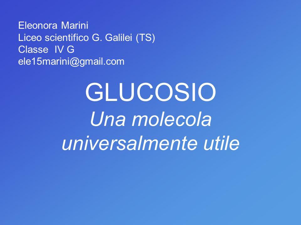 Eleonora Marini Liceo scientifico G. Galilei (TS) Classe IV G ele15marini@gmail.com GLUCOSIO Una molecola universalmente utile