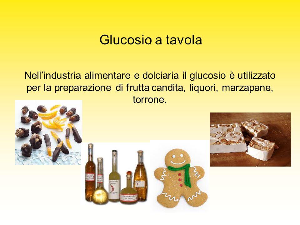 Nellindustria alimentare e dolciaria il glucosio è utilizzato per la preparazione di frutta candita, liquori, marzapane, torrone. Glucosio a tavola