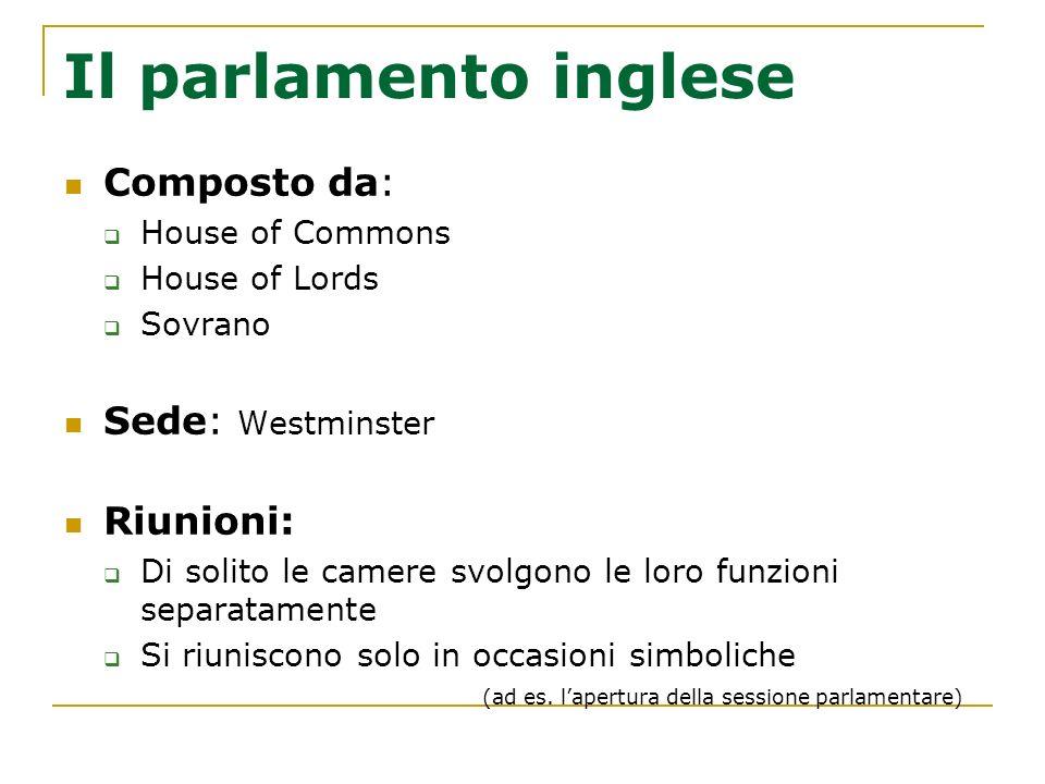 Il parlamento inglese Composto da: House of Commons House of Lords Sovrano Sede: Westminster Riunioni: Di solito le camere svolgono le loro funzioni s