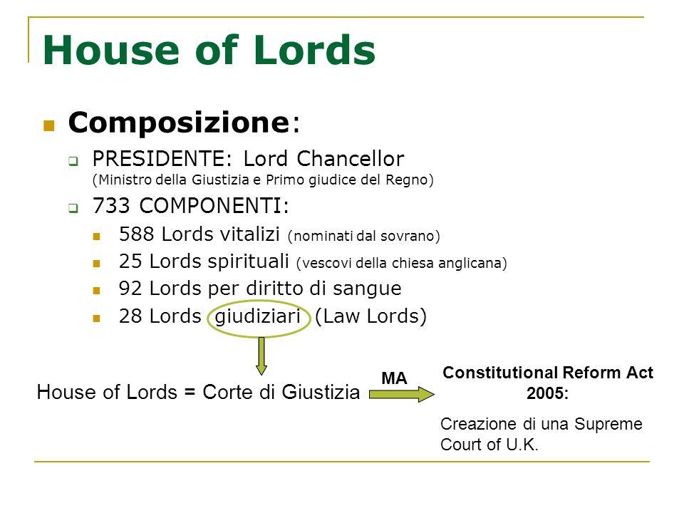 House of Lords Composizione: PRESIDENTE: Lord Chancellor (Ministro della Giustizia e Primo giudice del Regno) 733 COMPONENTI: 588 Lords vitalizi (nomi