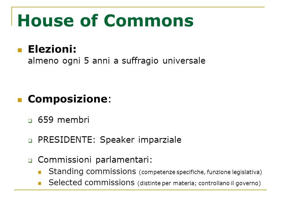 House of Commons Elezioni: almeno ogni 5 anni a suffragio universale Composizione: 659 membri PRESIDENTE: Speaker imparziale Commissioni parlamentari: